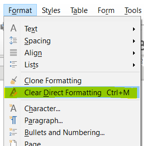 Direct Clear Formatting in LibreOffice Calc