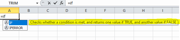 if condition in excel