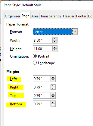 Type of Margin in LibreOffice Writter