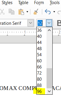 Maximum Font Size in LibreOffice Writer