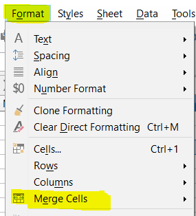 Merge Cell in LibreOffice Calc