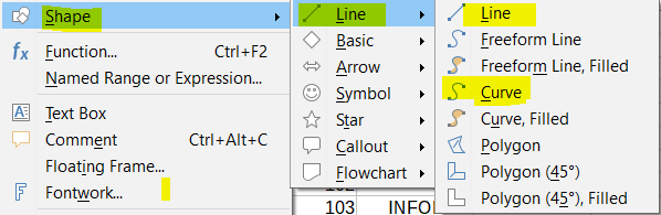 Shapes in LibreOffice Calc